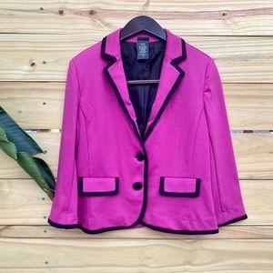 Covington Contrast Piping Blazer Pink & Black Sz S